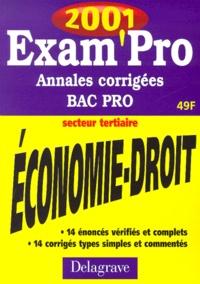 Economie Droit Bac pro secteur tertiaire. Annales corrigées 2001.pdf