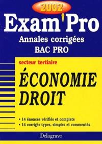 Deedr.fr Economie Droit Bac Pro secteur tertiaire. Annales corrigées 2002 Image