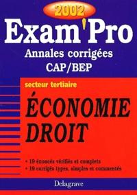Deedr.fr Economie Droit CAP/BEP secteur tertiaire. Annales corrigées 2002 Image
