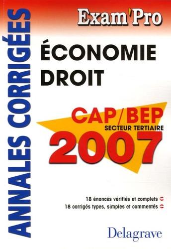 Patrice Barthélémi - Economie Droit CAP-BEP tertiaires - Annales corrigées.