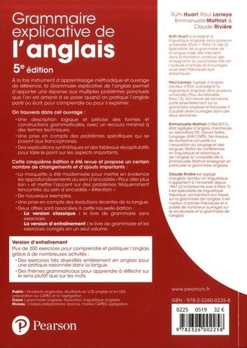 Grammaire explicative de l'anglais. C1/C2, avec 200 exercices corrigés 5e édition
