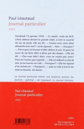 Journal particulier. 1933
