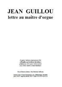 Paul Melchior - Jean Guillou - lettre au maître d'orgue.