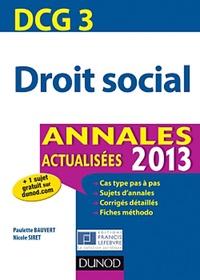 Droit social DCG 3- Annales - Paulette Bauvert |