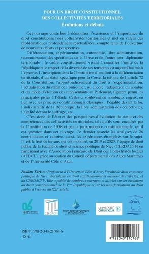 Pour un droit constitutionnel des collectivités territoriales. Evolutions et débats