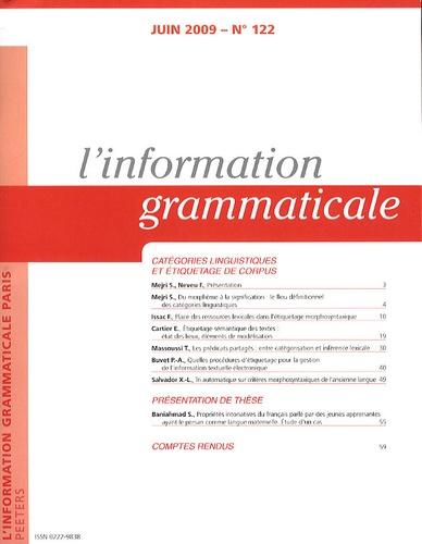 Salah Mejri - L'information grammaticale N° 122 : Catégories linguistiques et étiquetage de corpus.
