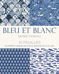 Corridashivernales.be Papier cadeau bleu et blanc - 12 feuilles de papier cadeau haute qualité (45 x 61 cm) Image