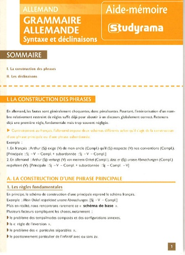 Peter Punin - Grammaire allemande - Syntaxe et déclinaisons.