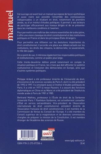 Droit constitutionnel et institutions politiques  Edition 2020-2021