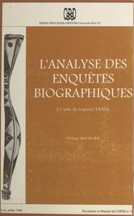 Philippe Bocquier - L'Analyse des enquêtes biographiques à l'aide du logiciel STATA.