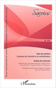 Philippe Carré - Savoirs N° 40/2016 : L'analyse de l'activité et sa verbalisation.