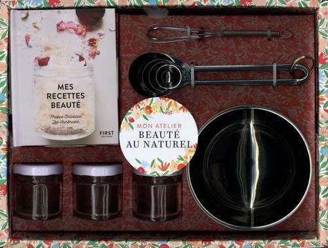 Coffret Beauté au naturel. Mes recettes beauté avec 1 bol en inox, 1 mini-fouet, 4 cuillères, 3 pots hermétiques en verre