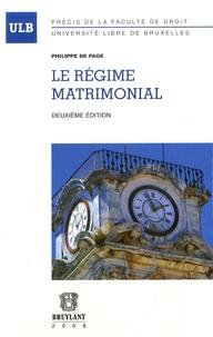 Philippe De Page - Le régime matrimonial.
