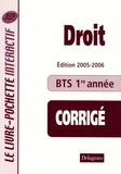 Philippe Idelovici - Droit BTS tertiaires 1e année - Livre du professeur Corrigé.