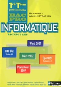 Informatique 1e Tle Bac Pro Gestion-Administration - Philippe Lieury pdf epub