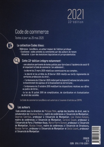 Code de commerce  Edition 2021