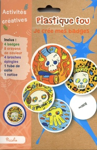 Piccolia - Je crée mes badges - Avec 4 badges, 8 crayons de couleur, 4 broches épingles, 1 tube de colle, 1 notice.