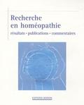 Pierre Belon - Recherche en homéopathie - Résultats, publications, commentaires.