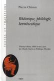 Pierre Chiron - Rhétorique, philologie, herméneutique.
