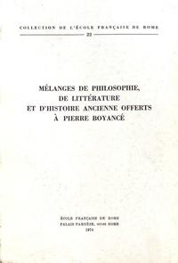 Pierre Gros et Jean-Paul Morel - Mélanges de philosophie, de littérature et d'histoire ancienne offerts à Pierre Boyancé.