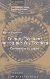 Pierre Legendre - Ce que l'Occident ne voit pas de l'Occident - Conférences au Japon.