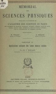 Pierre Rouard et  Académie des sciences de Paris - Applications optiques des lames minces solides.