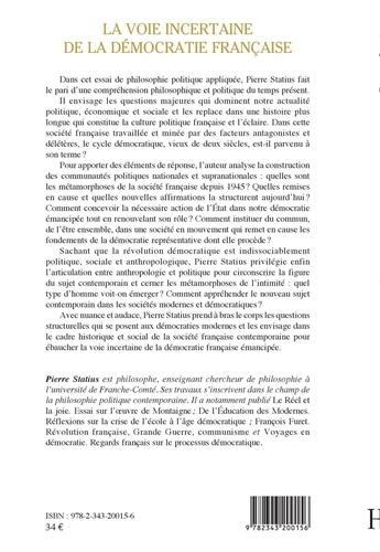 La voie incertaine de la démocratie française. Essai de philosophie politique appliquée