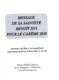 Deedr.fr Message de sa sainteté Benoît XVI pour le Carême 2010 Image