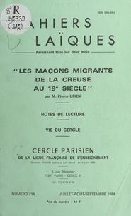 Pierre Urien et Louis Lafourcade - Les maçons migrants de la Creuse au 19e siècle - Notes de lecture. Vie du Cercle.