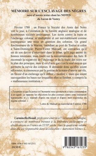 Mémoire sur l'esclavage des nègres. Suivi d'autres textes dont les notes du baron de Vastey