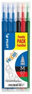 PILOT - 6 recharges stylo Frixion - bleu/noir/rouge/vert