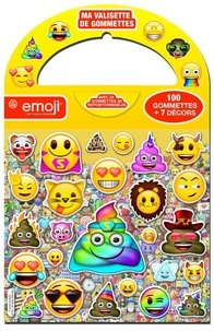 Pimchou - Ma valisette de gommettes Emoji - 100 gommettes + 7 décors. Avec 25 gommettes 3D repositionnables.