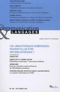 """Fabrice Papy et Jean-Stéphane Carnel - Communication et Langages N° 161, Septembre 20 : Les """"bibliothèques numériques"""" peuvent-elles être des bibliothèques?."""