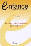 Jacqueline Nadel - Enfance Volume 61 N° 1, Janv : Le diagnostic d'autisme : quoi de neuf ?.