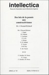 Marie-José Durand-Richard - Intellectica N° 39, 2004/2 : Des lois de la pensée aux constructivismes.
