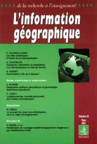 Collectif - L'information géographique Volume 65 Mars 2001.
