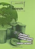 Guy-Noël Pasquet - Le sociographe N° 29, Mai 2009 : Education à l'environnement et travail social - Relations durables ?.
