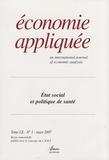 Philippe Batifoulier - Economie appliquée Tome 60 N° 1, Mars 2 : Etat social et politique de santé.