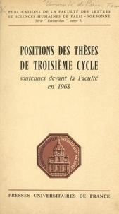 Prosper Abega et Hiam Aboul-Hussein - Positions des thèses de troisième cycle soutenues devant la faculté en 1968.