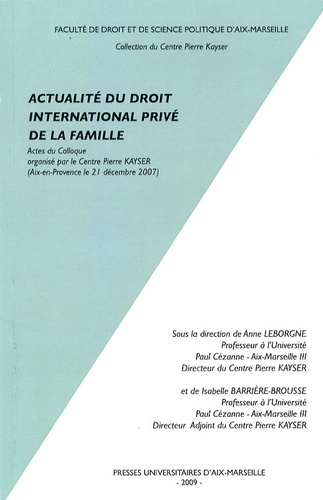 PU Aix-Marseille - Actualité du droit international privé de la famille.