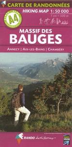 Rando - Massif des Bauges - Annecy, Aix-les-Bains, Chambéry, 1/50 000.