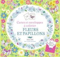 Rebecca Jones - Fleurs et papillons - Cartes et enveloppes à colorier.