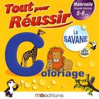 Régine Quéva - La savane avec petit panda - Coloriage Maternelle GS 5-6 ans.