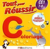 Régine Quéva - Les animaux aquatiques avec petit panda - Coloriage CE1 7-8 ans.