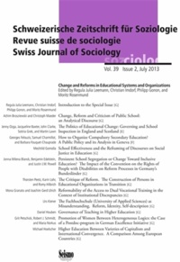 Regula juli Leemann - Revue suisse de sociologie, vol. 39, issue 2/2013. change and reforms  in educational systems and or.