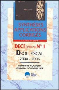 Rémédios Noguera et Christian Schoenauer - Droit fiscal - DECF Epreuve N°1.