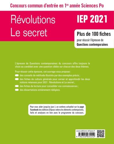 Révolutions/Le secret Questions contemporaines. Concours commun IEP / Sciences Po 1re année  Edition 2020