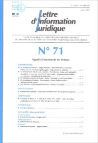 Ministère Education Nationale - Lettre d'Information Juridique N° 71 Janvier 2003 : .