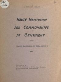 Reuben Reicher - Haute institution des communautés de sentiment - Haute institution du tiers-monde.