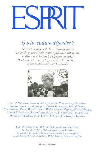 Esprit - Esprit N° 283 Mars-Avril 2002 : Quelle culture défendre ?.